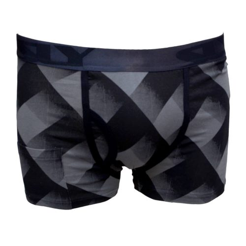 black and grey trunks