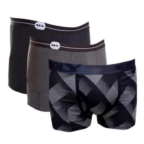 black and grey cotton trunks
