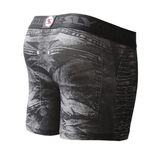 distressed black denim trunks