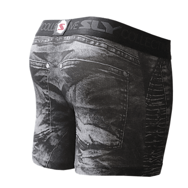 distressed black denim trunks